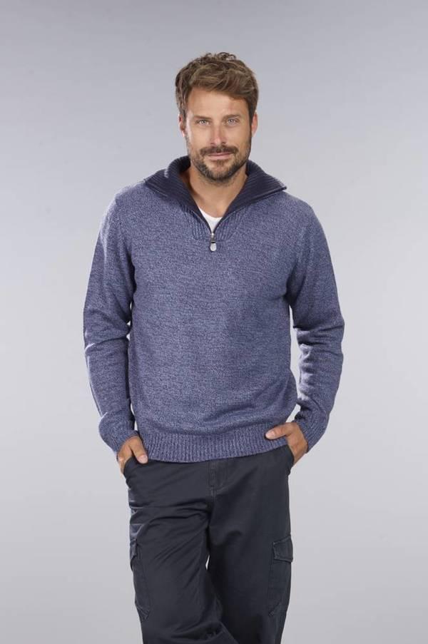 Pullover mit Reißverschluss,blau-melange