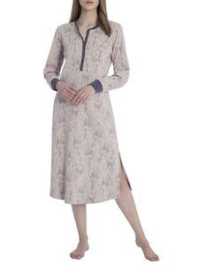 Calida Langes Nachthemd mit Ärmelbündchen, Länge 120cm, shadow grey, grau, L