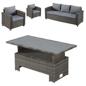 Gartenmöbel-Set Colombo/Louisiana (höhenverstellbar, 2 Sessel, 1 Sofa)