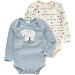 2 Baby Langarmbodys mit Bären-Print
