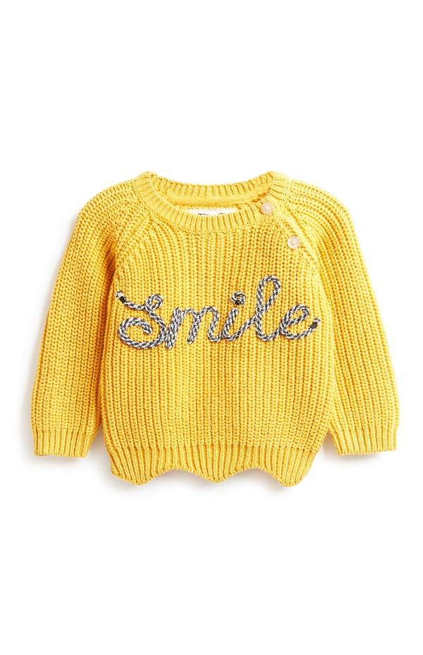 """Gelber """"Smile"""" Pullover für Babys (M)"""