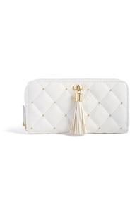 Weiße, gesteppte Brieftasche