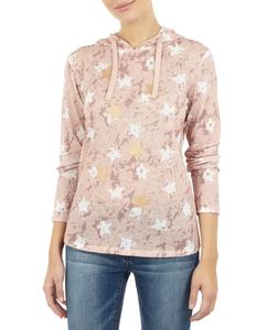 Damen Pullover mit Kapuze und Farbklecksmuster