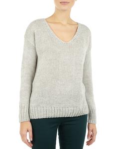 Damen Pullover mit abgerundetem V-Ausschnitt