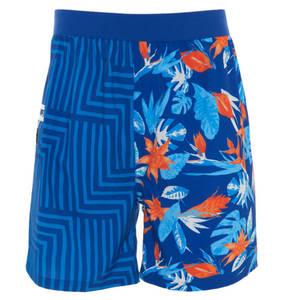 manguun sports             Badeshorts, floral, geometrischer Print, Reißverschlusstasche