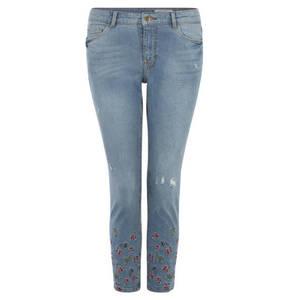 edc             Jeans, Regular Fit, 7/8-Länge, Destroyed-Effekt, Stickerei