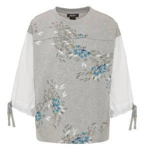 DKNY             Sweatshirt, 3/4-Arm, florales Design, Schleife