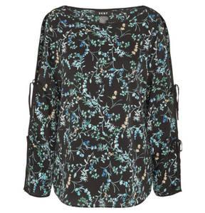 DKNY             Bluse, Satin-Optik, offene Schulter, florales Design