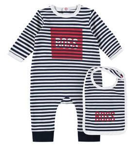 BOSS             Schlafanzug & Lätzchen, 2-tlg. Set, Streifen, Baumwolle, für Babys