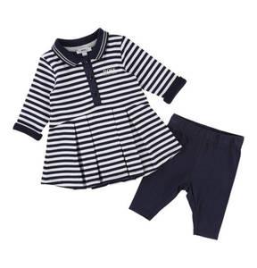 BOSS             Kleid & Hose, 2-tlg. Set, Streifen, Polokragen, für Babys