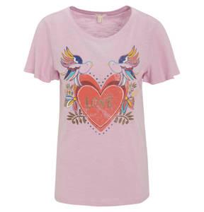 ESPRIT             T-Shirt, reine Baumwolle, Glitzer-Details, Love-Schriftzug