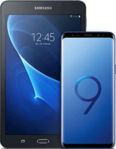 Samsung Galaxy S9 mit Tablet blau