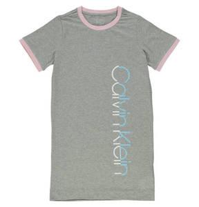 CALVIN KLEIN             Nachthemd, Label-Aufdruck, Rundhalsausschnitt, meliert, für Mädchen