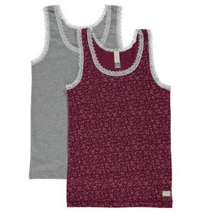 ESPRIT             Unterhemd, 2er-Pack, Print, Melange, Spitze, für Mädchen