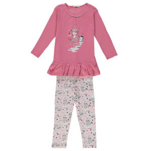 ESPRIT             Schlafanzug, Volant, Glitzer-Print, Baumwoll-Stretch, für Mädchen