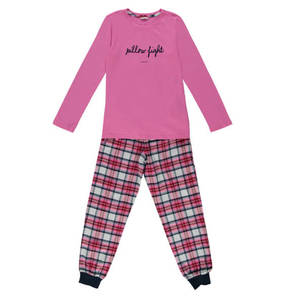 ESPRIT             Schlafanzug, Karo, Spruch-Print, reine Baumwolle, für Mädchen