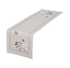 Home Tischläufer mit Schmetterlings-Stickereien, ca. 40x140cm
