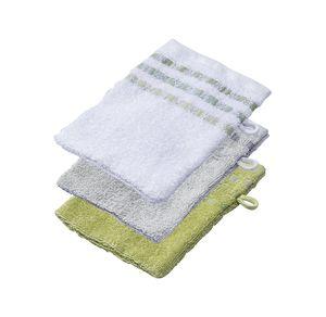 Home Waschhandschuh mit Kästchen-Bordüre, 16x21cm