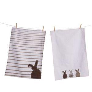 Geschirrtuch-Set, 2-tlg. Bunny Boys Braun/Weiß