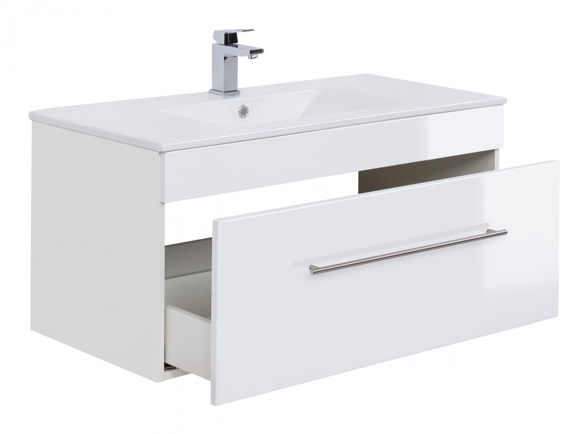 Bild 4 von Posseik Badmöbel-Set VIVA 100 (5-teilig) weiß hochglanz