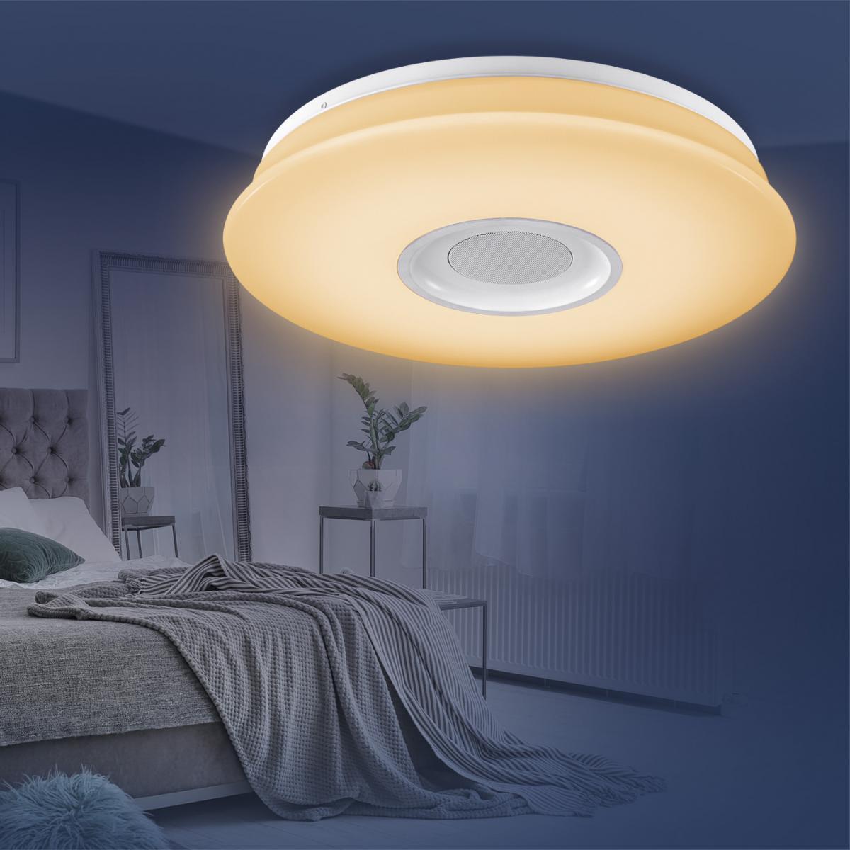 Bild 1 von EASYmaxx LED-Deckenleuchte 18W weiß mit Bluetooth-Lautsprecher & Fernb.