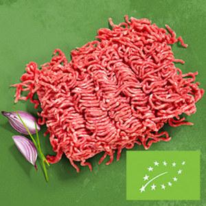 Frisches Bio Rinderhackfleisch  oder Hackfleisch gemischt aus Schweine- und Rindfleisch, jede 350-g-SB-Packung