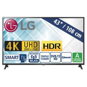 "43""-Ultra-HD-LED-TV 43UK6200PLA • TV-Aufnahme über USB • 3 HDMI-/2 USB-Anschlüsse, CI+ • Stand-by: 0,5 Watt, Betrieb: 71 Watt • Maße: H 57,4 x B 97,5 x T 8,0 cm • Energie-Effizienz A ("