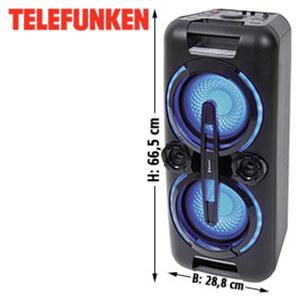 Bluetooth®-Party- Lautsprecher BS1022 mit UKW-Radio • Bass-Boost • USB-/3,5-mm-Klinken-Anschluss, 2 Mikrofon-Anschlüsse • integr. Akku