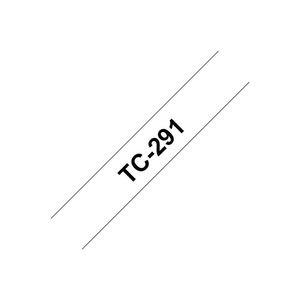 Brother Laminierte Bandrolle, TC-291, Schwarz-auf-Weiß, 0,9cmx7,7m