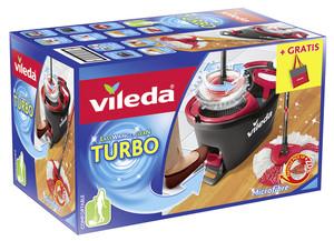 Vileda Wischmop-Set Turbo Easy Wring & Clean incl. Powerschleuder und Fußpedal, Farbe Grau + Gratistasche