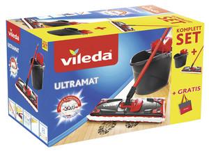 Vileda UltraMat 2in1 Komplett-Set, Bodenwischer mit Power-Presse + Tasche gratis