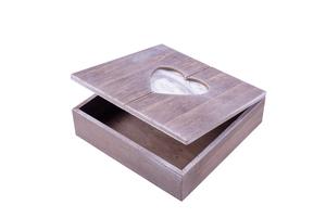Rivanto® Holz-Geschenkbox mit Herz-Bilderrahmen, Fotobox, Holzbox ,Holzschatulle, Holzschachtel, Schmuckkästchen mit Herzmotiv, 20 x 20 x 6 cm