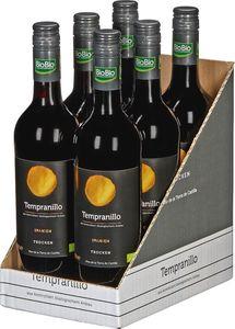 BioBio Tempranillo - Vino de la Tierra Castilla - trocken - vegan, 0,75 Liter 6er Karton