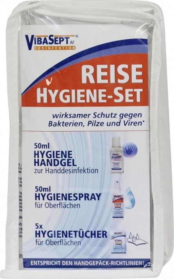 Vibasept Reise Hygiene-Set ,  Handhygiene, Hygienespray,  Desinfektionstücher für Oberflächen