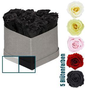 """Rosenbox """"Herz"""" 10 Rosen, 16x10 cm, versch. Varianten"""