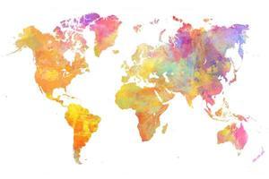 artboxONE Poster 60x40 cm World Map 29 Pastel von Künstler Justyna Jaszke