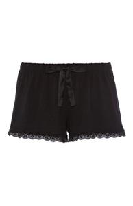 Schwarze Satin-Shorts mit Spitze