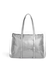 Transparente Tragetasche in Silber