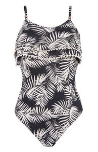 Badeanzug mit Palmenprint und Rüschen