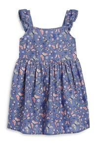 Blaues Kleid mit Blumen (kleine Mädchen)
