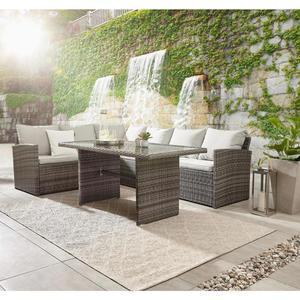 Ambia Garden DINING-LOUNGESET Kunststoffgeflecht Aluminium, Grau