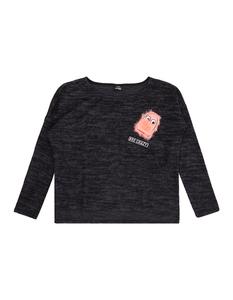 Mädchen Boxy Pullover mit Stickerei und Fell-Applikation