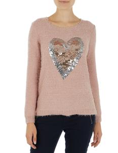 Damen Pullover mit Herz aus Pailletten