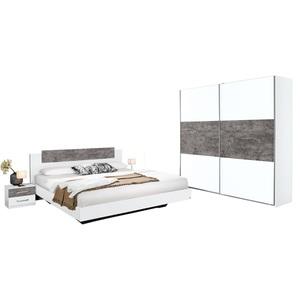 SELF Schlafzimmer MARBURG Alpinweiß Nachbildung/Stone Grau
