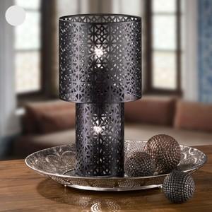 Tischlampe, Gittermuster, Metall, 22 x 41 x 22 cm, schwarz