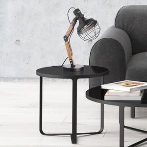 Tischlampe, Industrial, Holz/Metall, 16 x 45 x 16 cm, schwarz