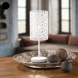 Tischlampe, Gittermuster, Metall, 14 x 37,5 x 14 cm, Schwarz