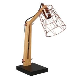 Holz-Tischlampe, Kupfer, Zylinder