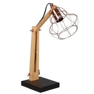 Holz-Tischlampe Kupfer, gewölbt