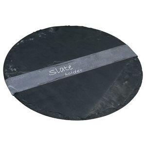 Schieferplatte rund, D:30cm, schwarz